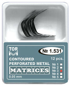 Dental Metal Contoured Perforated Matrices No 1531 Shape 3 12pcs By Tor