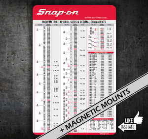 Snap On Tap Chart Drills With Decimal Equivalents Toolbox Tool Chest Cart R