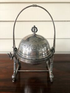 Vintage New Haven Silverplate Cut Etched Dome Cover Butter Dish