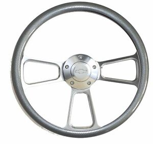 Steering Wheel 14 Billet Steering Wheel With Chevy Horn Carbon Fiber Look Hw