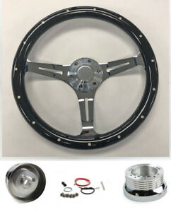 1965 1969 Mustang Black Wood Grip Steering Wheel 15 On Chrome Spokes