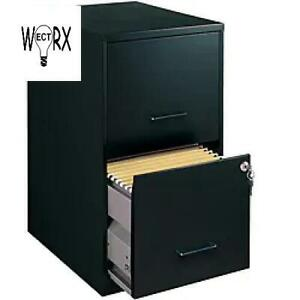Space Solutions 18 Deep 2 drawer Metal File Cabinet Black Organizer Compact
