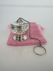 Classic Lunt Art Deco Sterling Silver Tea Ball Infuser Pink Pouch C1920s