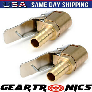 2pcs 8mm Open Flow Air Chuck With Lock Connector Tire Inflator Valve And Clamp