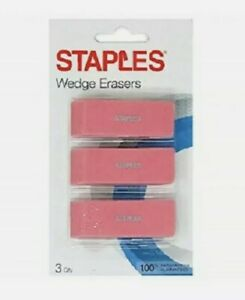 3 Staples Pink Wedge Erasers 3 pack Latex free Pink New Sealed 9 Erasers Total