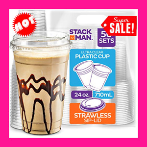 24 Oz Clear Cups With Strawless Sip lids 50 Sets Pet Crystal Clear Disposable