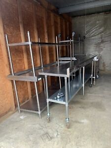 Heavy Duty 8 Foot Commercial Stainless Steel Work Kitchen Prep Table On Wheels