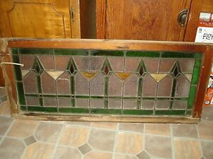 Antique Bungalow Stained Glass Transom Window 44 X 19 Circa 1920 S