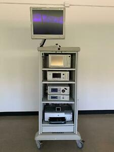 Stryker Tower 1188 X8000 Sdc Insufflator Printer Monitor Endoscopy Laparoscopy