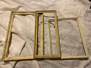 Lot Of 3 Three Vintage Wood Picture Frames Gold White Fits Small Medium Frames