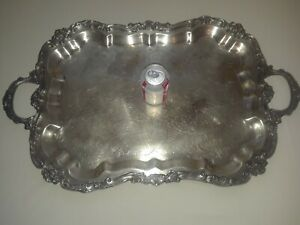 Large Butler Serving Tray Silver Plate Footed Handles Heavy Elegant Ornate