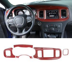 Inner Console Dashboard Panel Cover Trim For Dodge Charger 15 Red Carbon Fiber