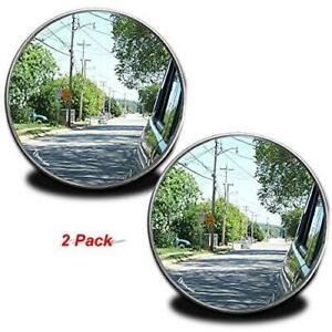 Zento Deals Pack Of Two 2 Inch Stick on Rearview Blind Spot Mirrors Aluminum