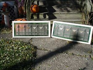Two Antique Stained Glass Transom Window 44 X 19 Circa 1920 S