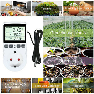 Lcd Digital Temperature Controller Thermostat W timer Fr Terrarium Aquarium E2u5