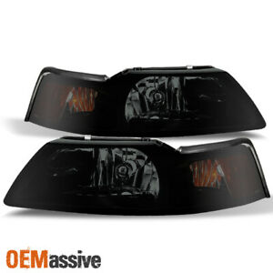 Fit 1999 2004 Ford Mustang Black Smoked Headlights Replacement Lamps L R