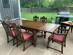 Vintage Jacobean Oak Dining Table And Chairs