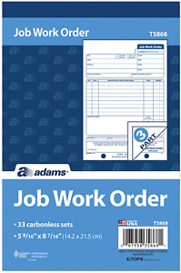 Adams Job Work Order Book 3 part Carbonless White canary white 5 9 16 X