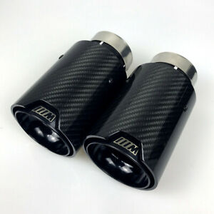 2x Bmw M Logo Black Coated Glossy Carbon Fiber 60 63 67 70 Exhaust Tips