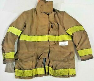 50x35 Globe Firefighter Brown Bunker Turnout Jacket Coat With Yellow Tape J808