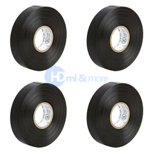 4x Insulating Tape Black Electrical Tape 65ft Roll