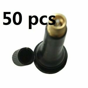 50pcs Tr418 Black Rubber Standard 2 Snap In Tubeless Tire Valve Stems Length 2