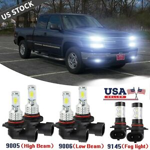 For Chevy Silverado 1500 2500 Hd 2004 2006 6k Led Headlight Fog Light Bulbs Kit
