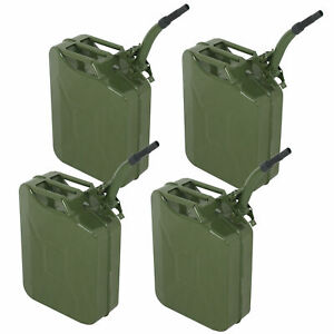 4pc Military Style Jerry Green Can 5 Gallon Fuel Storage Steel Fuel Tank 20l