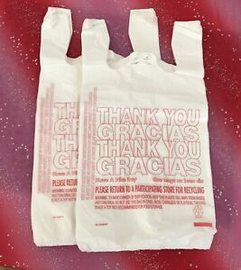 200 T shirt Thank You Plastic Grocery Store Shopping Carry Out Bag