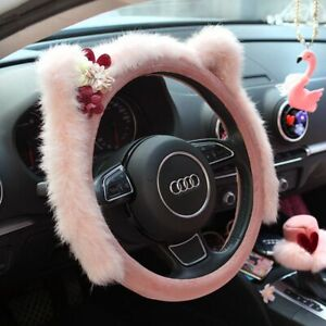 Pink Suede Plush Car Interior Steering Cover Seat Belts Padding Headrest Girls