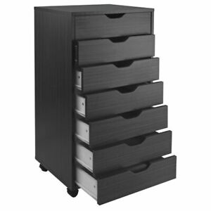 Tall 7 drawer File Cabinet Organizer Portable Rolling Office Cart Storage Black