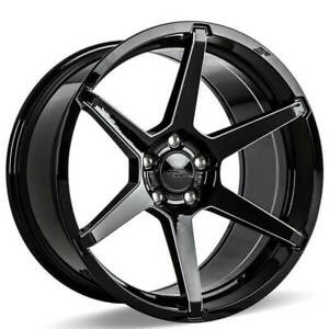 4 20 Staggered Ace Alloy Wheels Aff06 Gloss Black With Milled Accents b44