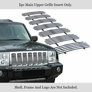 Fits 2006 2010 Jeep Commander Main Upper Stainless Chrome Vertical Billet Grille
