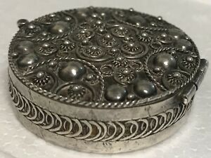 Antique Vintage Sterling Silver 950 Hinged Trinket Pill Box Round Bead