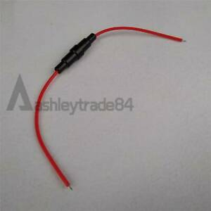 New 2pcs Agc Fuse Holder In line Screw Type With Wire 5x20mm