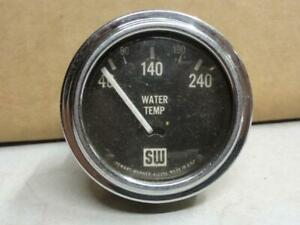 Vintage Stewart Warner Sw Electric Water Temp Gauge Curved Glass 32 Ford Scta