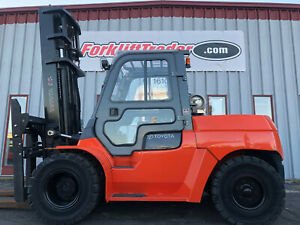 2008 Toyota 7fgu80 17500lbs Dual Tire Pneumatic Forklift With A Full Cab