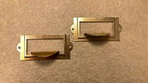 Pair Of Library File Card Catalog Drawer Card Label Holder W Handle Pull