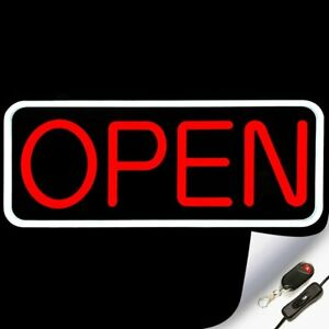 Large Flashing Led Neon Open Sign Light For Businesses With Remote White Red