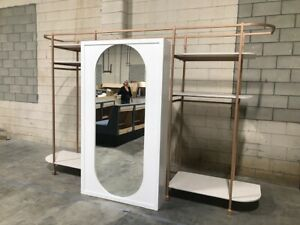 Deluxe Retail Display Rose Gold Finish Laminate Wood Full Mirror Boutique Glamor