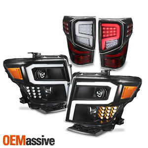 For 2016 2021 Nissan Titan Led Tail Lights Headlights Combo Assemblies Black