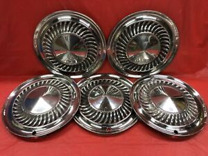 Vintage Set Of 5 195960 Ford 14 Hubcaps Galaxie Thunderbird Fomoco