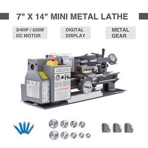 Mini Metal Lathe 7 X 14 Bench Top 3 4hp Digital Readout Metal Gear W 5 Tools