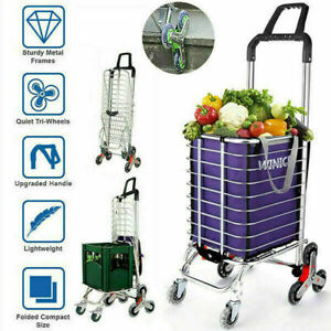 Portable Shopping Carts Trolley Foldable Hand Grocery Cart Utility With Bag