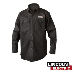 Lincoln Electric K3113 l Black Flame Retardant Welding Shirt Size Large