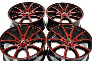 4 New Ddr St15 17x7 5 5x100 114 3 40mm Black Polished Red Face 17 Wheels Rims