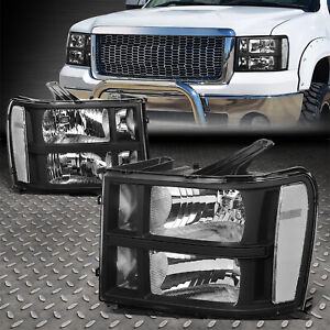 For 07 14 Gmc Sierra 1500 2500 3500 Blackclear Oe Style Headlight Head Lamps Fits More Than One Vehicle