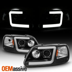 Fits Black 97 03 Ford F150 97 02 Expedition Led Bar Projector Headlights