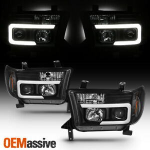 Fits 2007 2013 Toyota Tundra 08 13 Sequoia Light Bar Black Projector Headlight