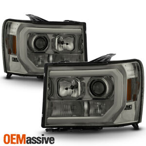 For 07 13 Gmc Sierra 1500 2500hd 3500hd Smoked Drl Led Tube Projector Headlights